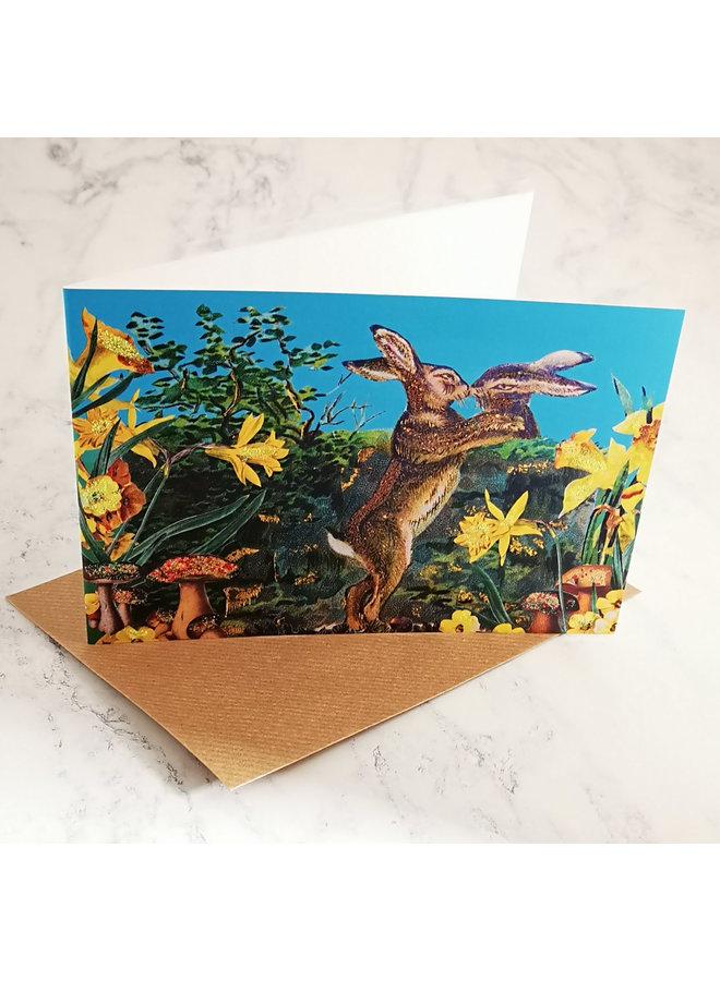 Hares Vintage Glitter Card  93
