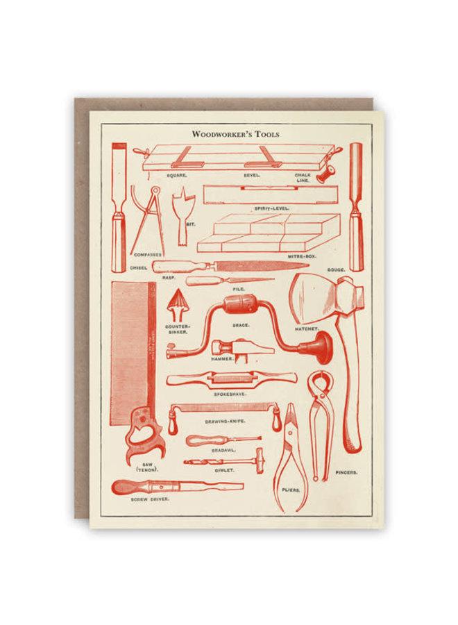 Holzwerkzeug Werkzeuge Musterbuch Karte