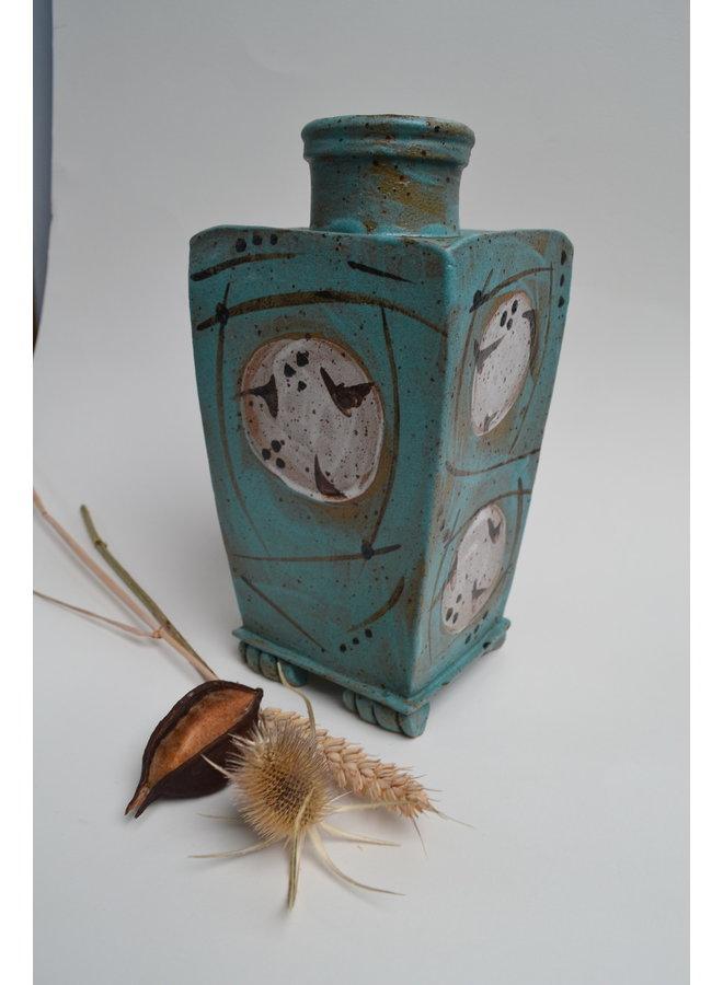 Quadratische Vase mit türkisfarbener Glasur