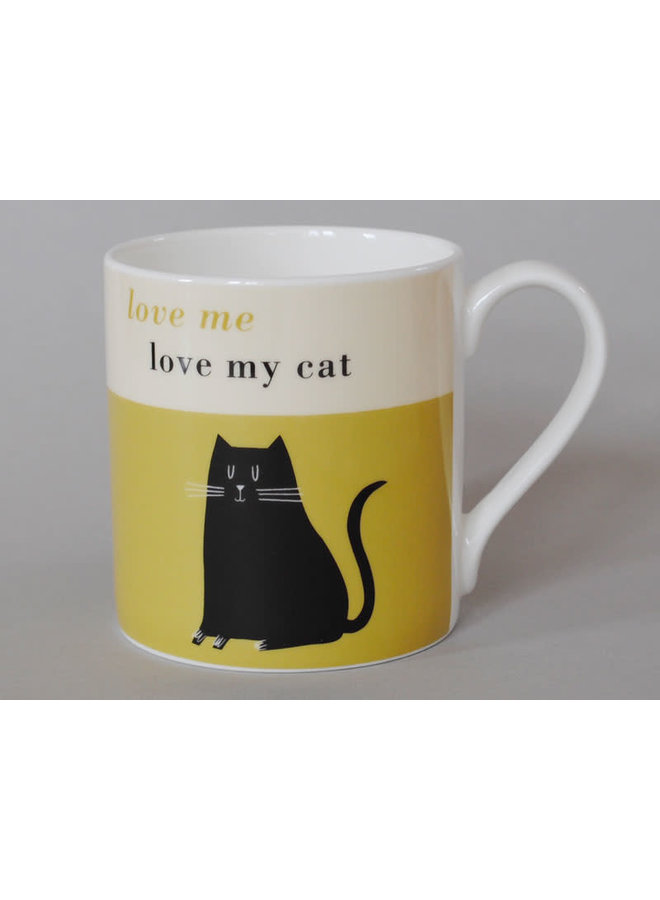 Happiness  Large Mug Black Cat  Olive 106