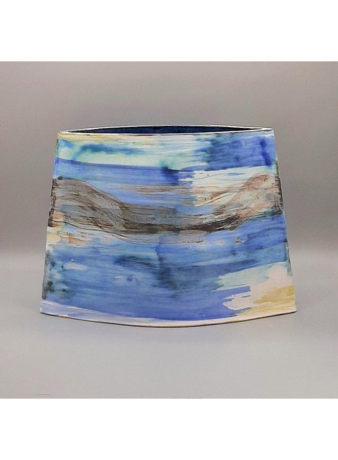 Blue Shoreline große abgewinkelte Vase 25