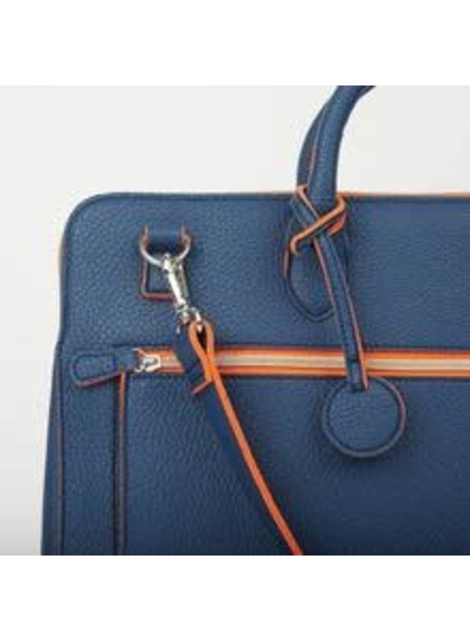 Dokumenten- und Laptop-Portfolio-Tasche Navy und Orange 052