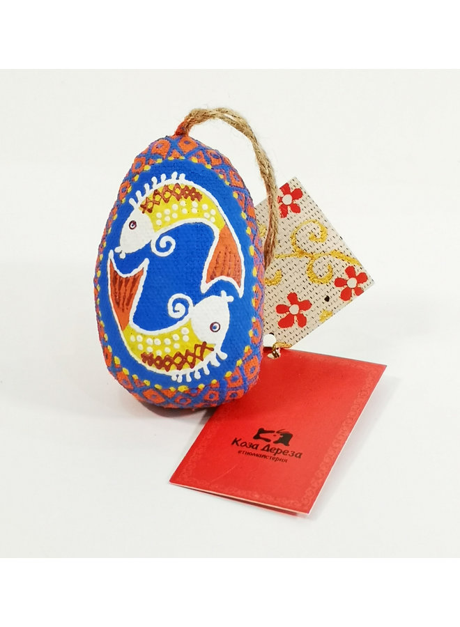Blue Easter Egg with Fishes  decoration