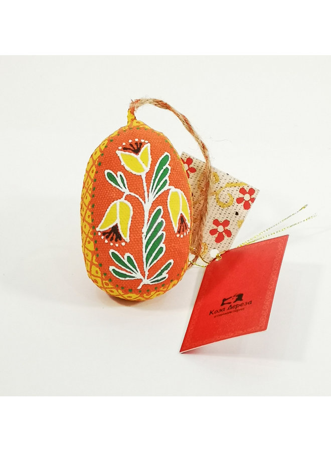 Orange Easter Egg with Flower  decoration