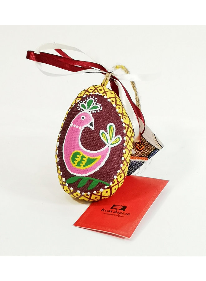 Claret Easter Egg with Bird  decoration