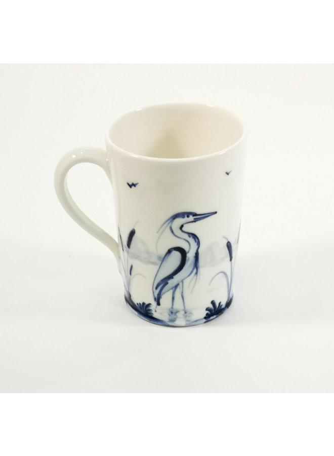 Heron Porzellan handbemalte große Tasse 126