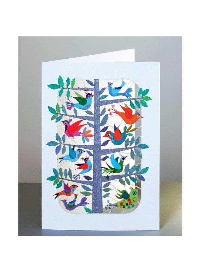 Copy of Birds and blue flowers  Lazer cut card