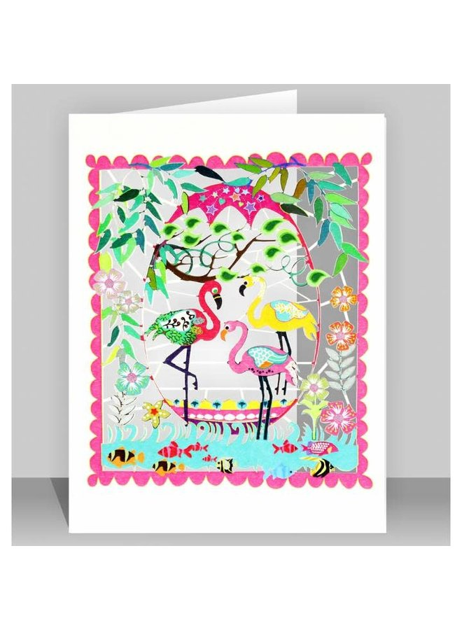 Three Flamingoes Laser cut card
