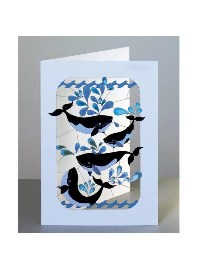Whales Splashing  Laser cut card