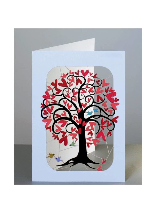 Red Heart Curling Tree Laser cut card
