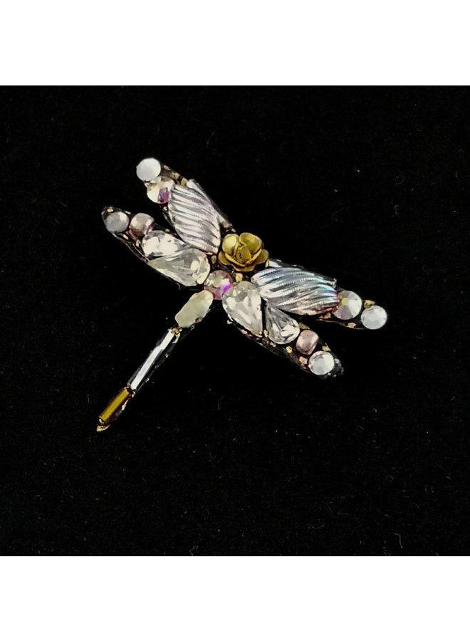Weiße Kristalllibellenbrosche 181