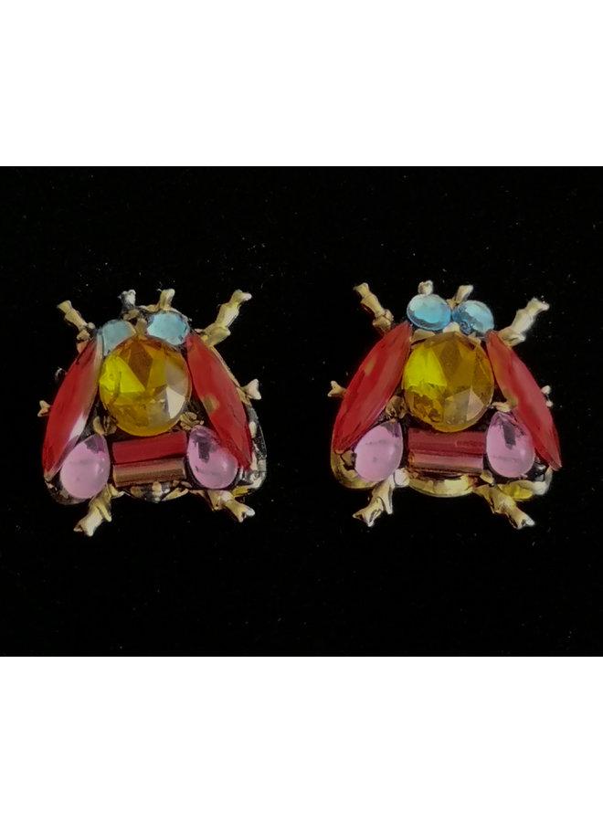 Bees Red Wings Stud Earrings 249