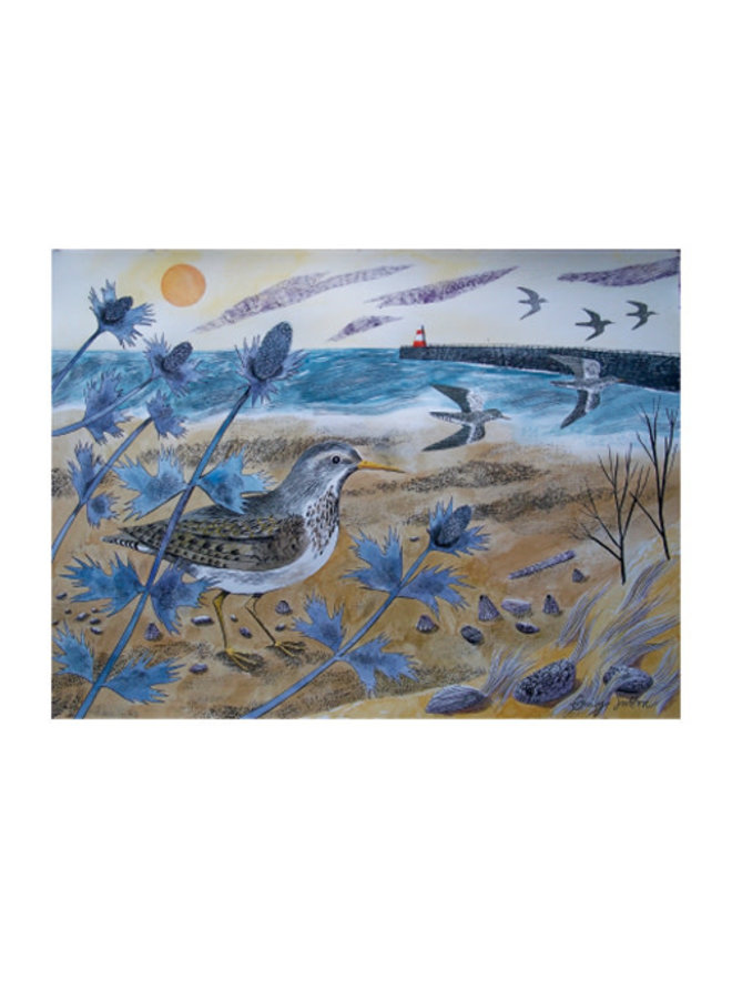 Sandpipers with Sea Holly Card by Emily Sutton