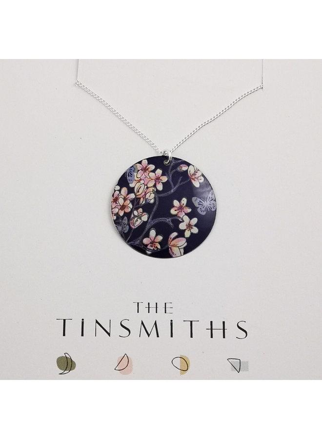 Runde Kirsche und Schmetterling Zinn & Silber konvexe Scheibe Halskette 02