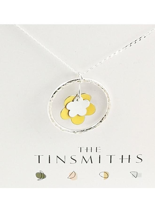 Doppelte gelbe Blume und silberne Reifenform & silberne Halskette 41