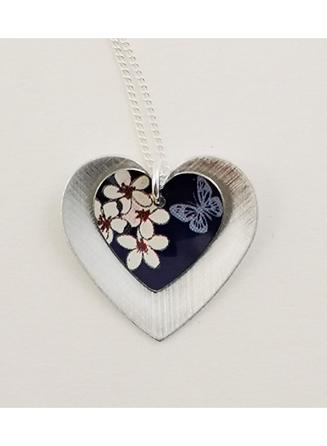 Cherry and Butterfly  Double Heart tin & silver necklace 60