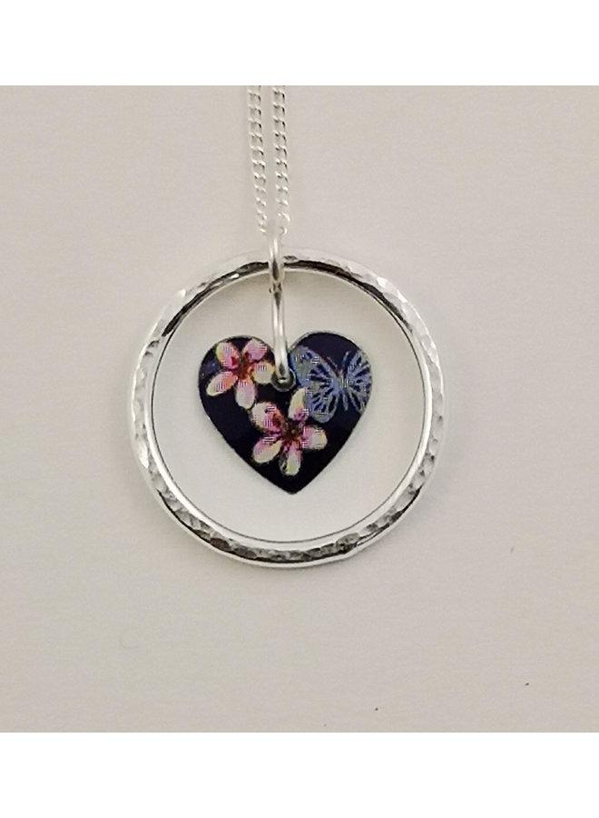 Kirsche und Schmetterling Kreis des Lebens Herz Zinn & Silber Halskette 61