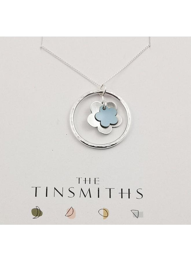 Himmelblauer Lebenskreis Gänseblümchen Zinn & Silber Halskette 62