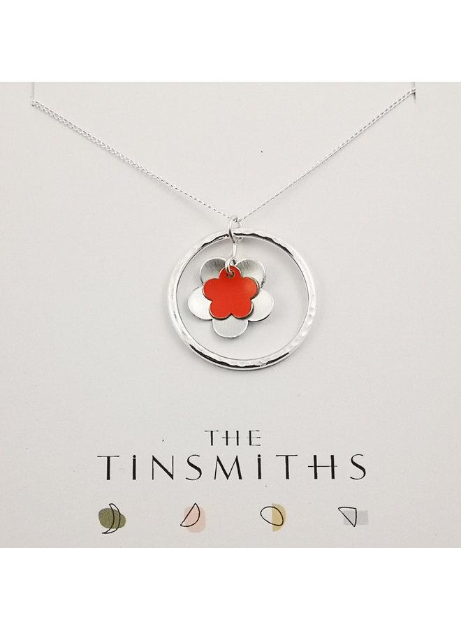 Orange Circle of Life  Daisy  tin & silver necklace 63