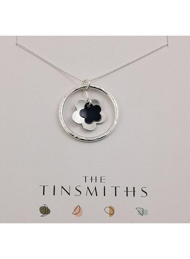Blue Circle of Life Gänseblümchen Zinn & Silber Halskette 64