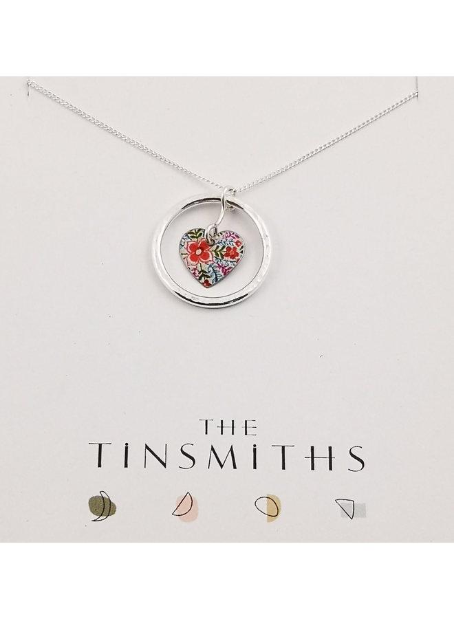 Lotus Circle of Life Herz Zinn & Silber Halskette 65