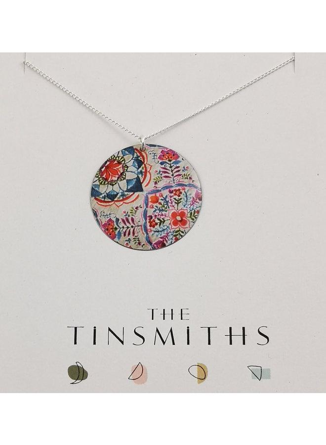 Lotus Round  tin & silver necklace 64