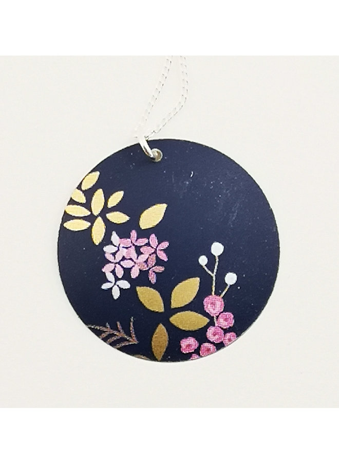 Kyoto Blue Round  Disc tin & silver necklace 66