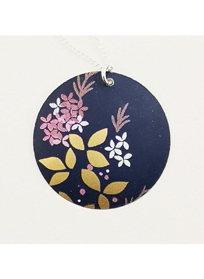 Kyoto Blue Round Disc Zinn & Silber Halskette 67