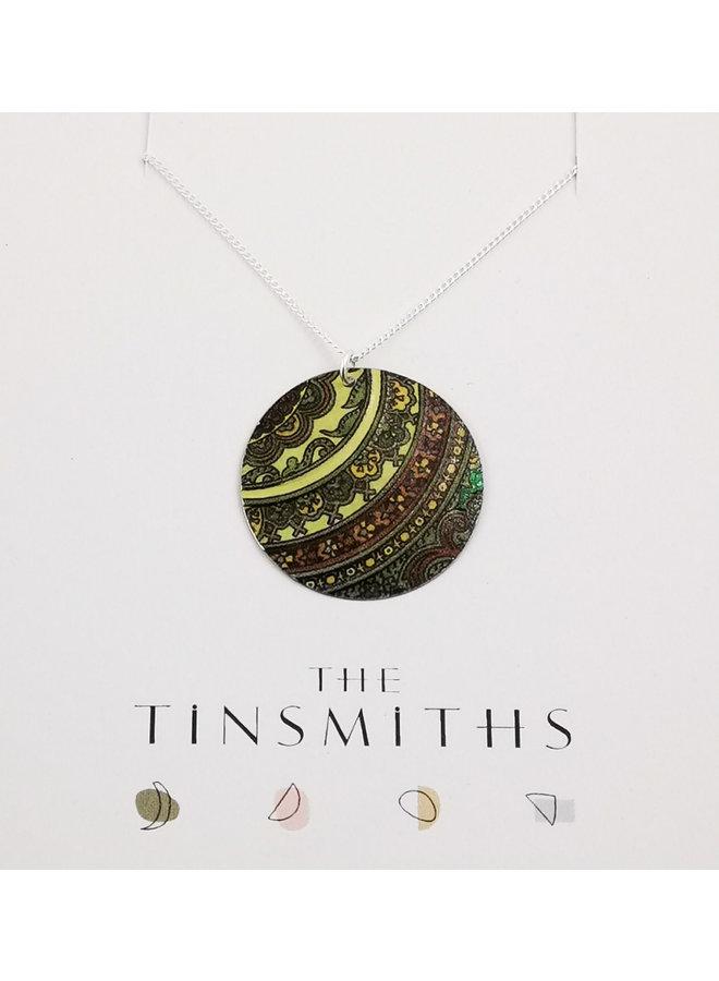 Damastgrüne runde Scheibe Zinn & Silber Halskette 69