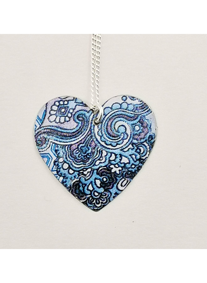 Damask Blue Heartc tin & silver necklace 70
