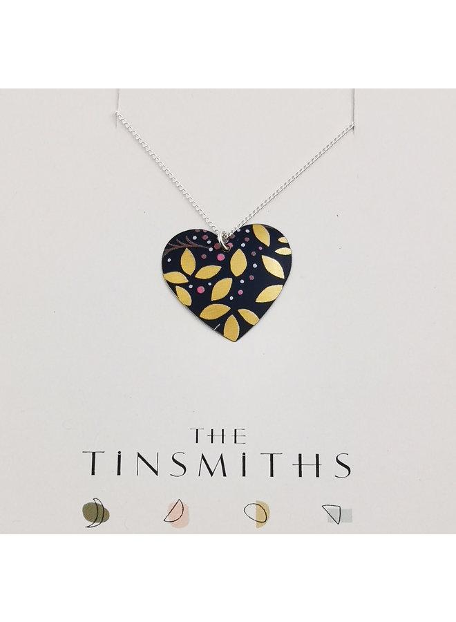 Kyoto Blue Heart tin & silver necklace 71