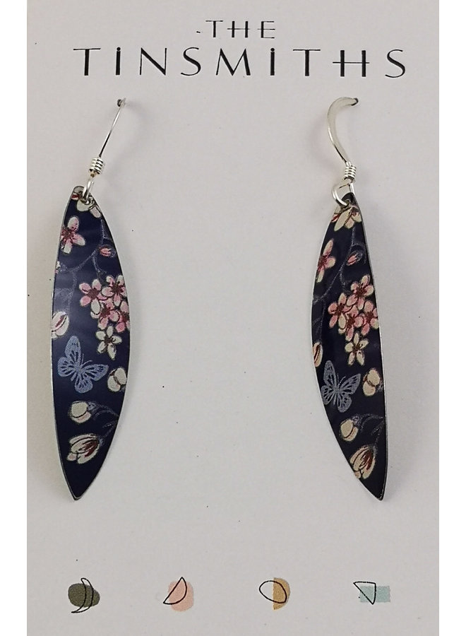 Kirsche und Schmetterling Zinn & Silber lange Blatt Tropfen Ohrringe 58