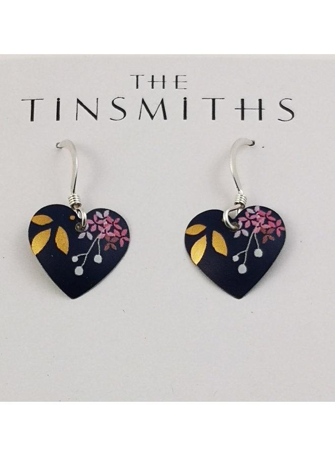 Koyoto Blue Heart tin, & silver earrings 77