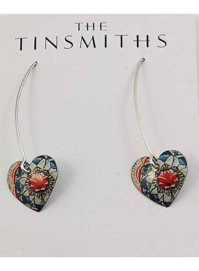 Lotus Long Heart Zinn & Silber Ohrringe 78