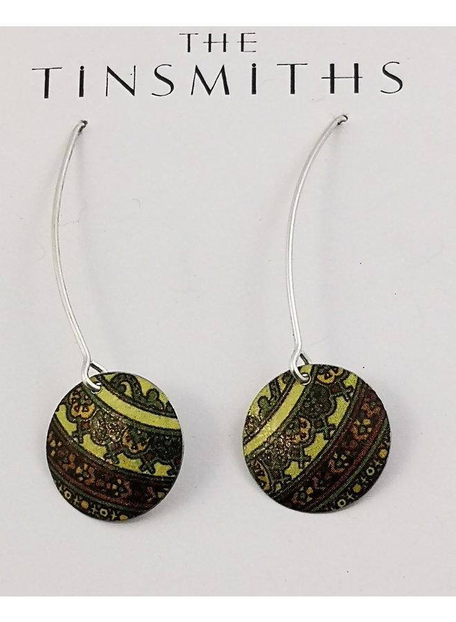Damask Green long round tin & silver earrings 82
