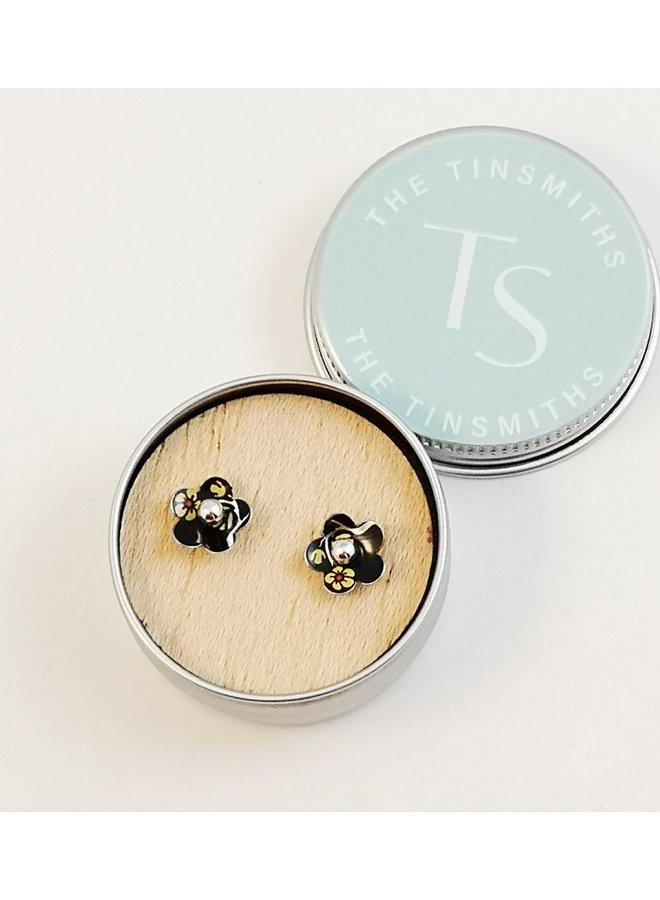 Willow daisy  tin & silver  stud earrings 85