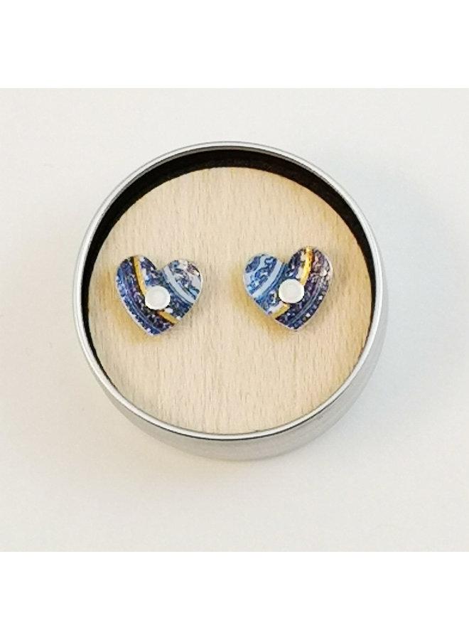 Damask blue tiny heart  tin & silver stud earrings 87