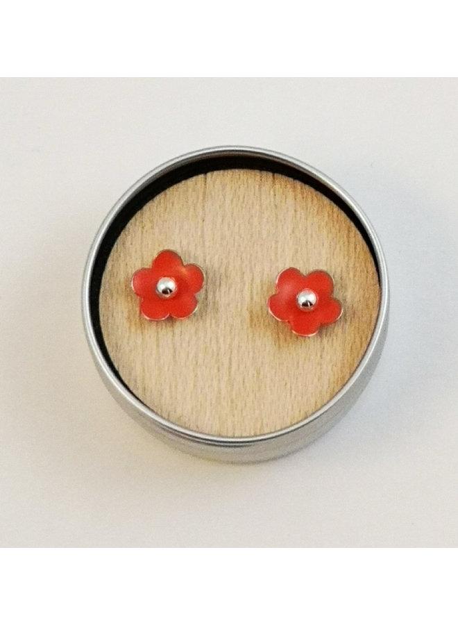 Orange tiny daisy tin & silver stud earrings 88