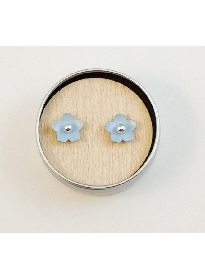 Sky Blue tiny daisy tin & silver stud earrings 90