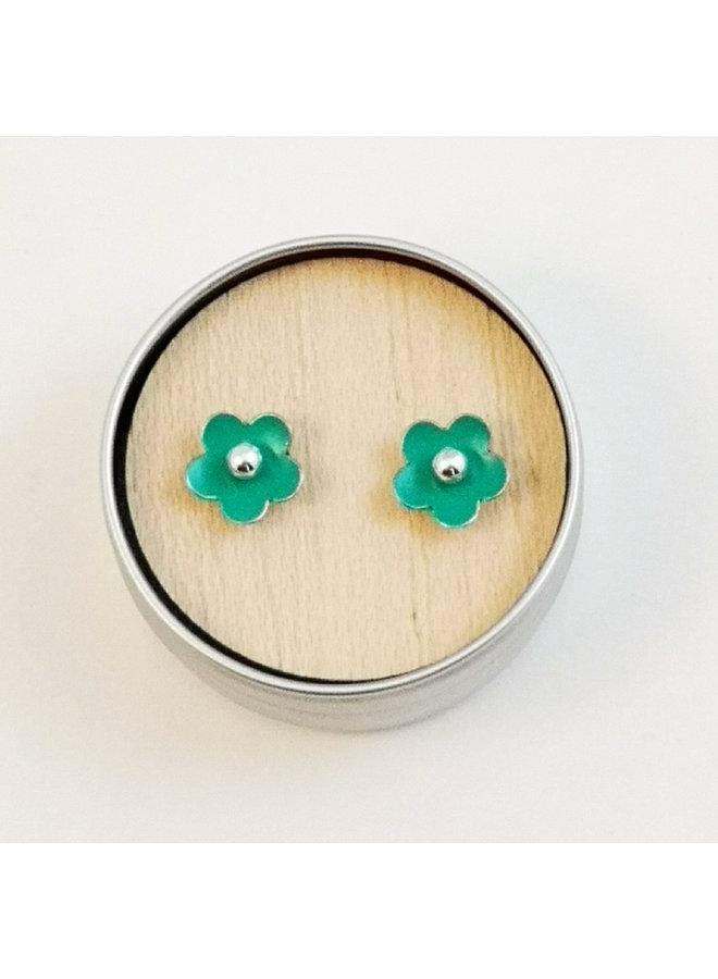 Jade tiny daisy tin & silver stud earrings 91