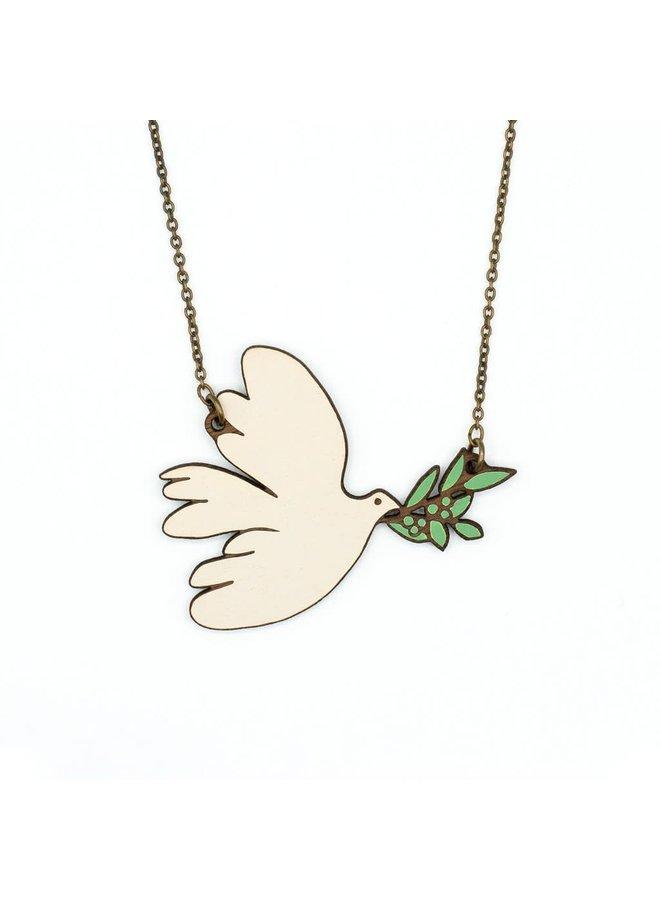 Weiße Taube Halskette 036
