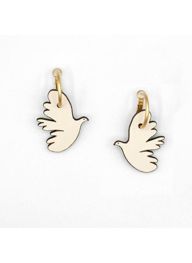 Kissing Dove Hoop Earrings 034