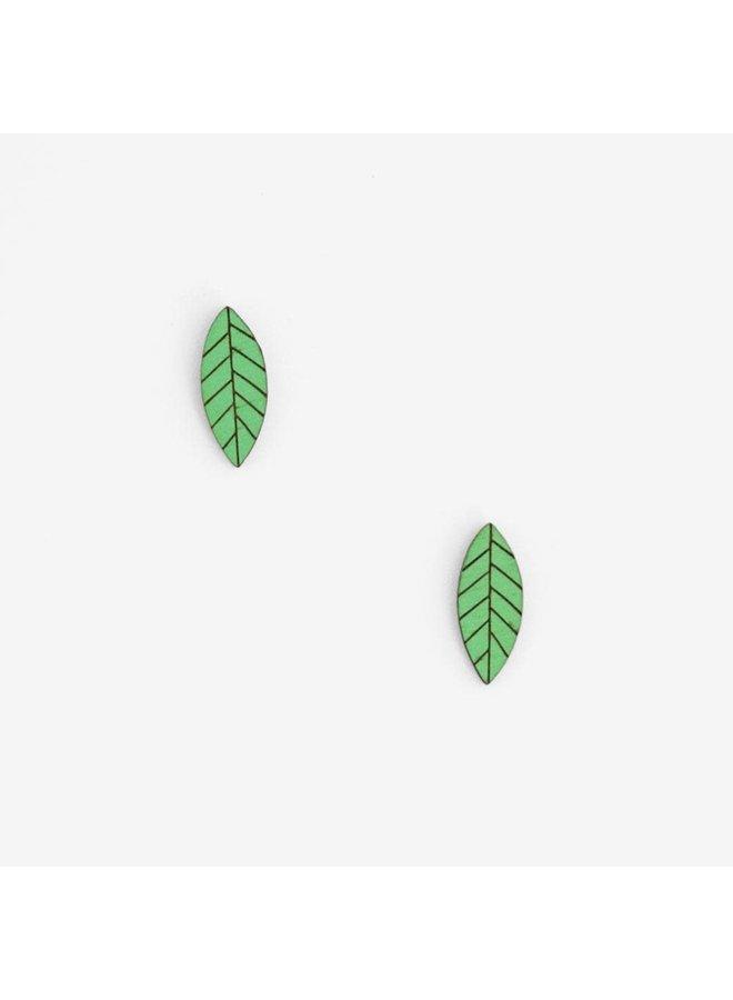 Grüne Blatt Ohrstecker 042