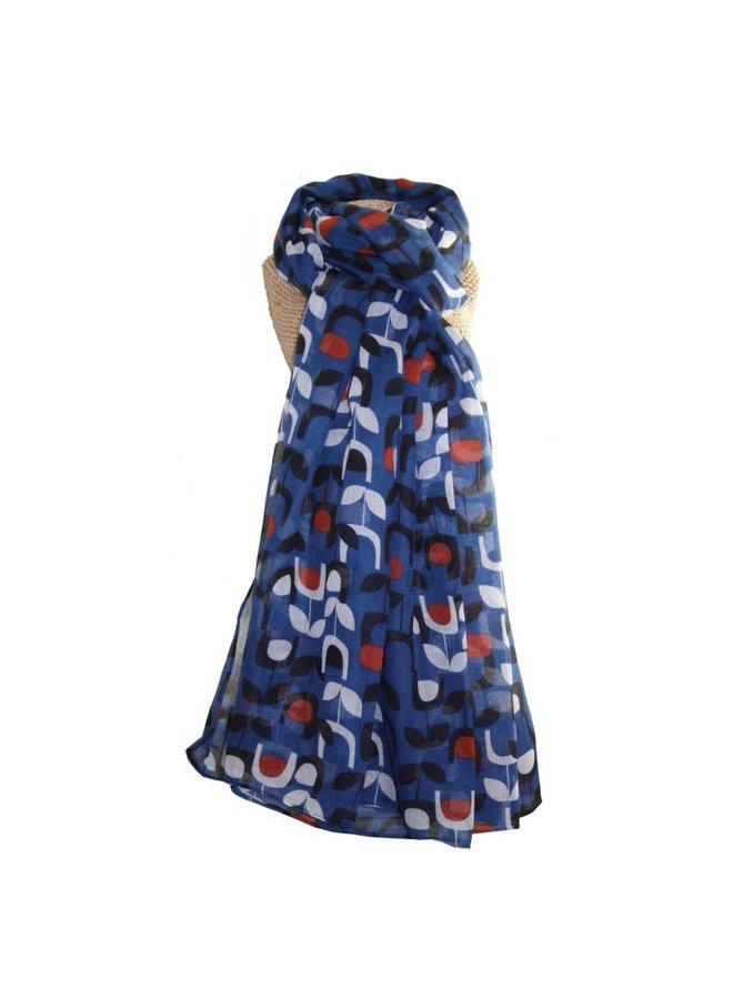 Blue  Block Print Floral Scarf Lightweight  260