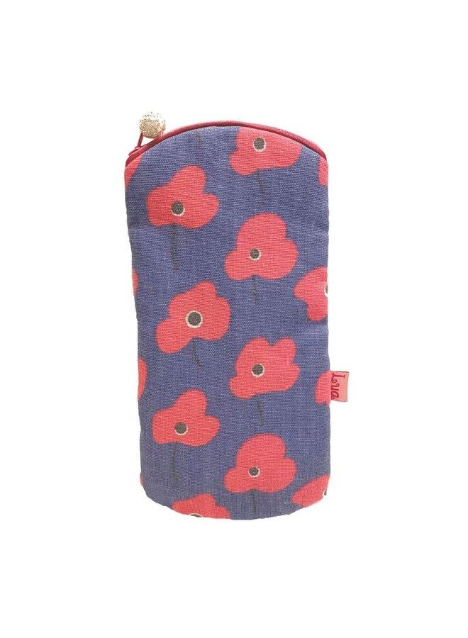 Poppy Botanic Print Leichte Brille Geldbörse Blau Rosa 302
