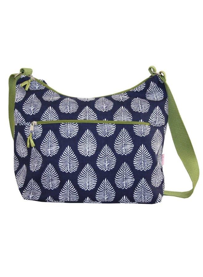 Botanische Blätter Slouch Bag Navy 453