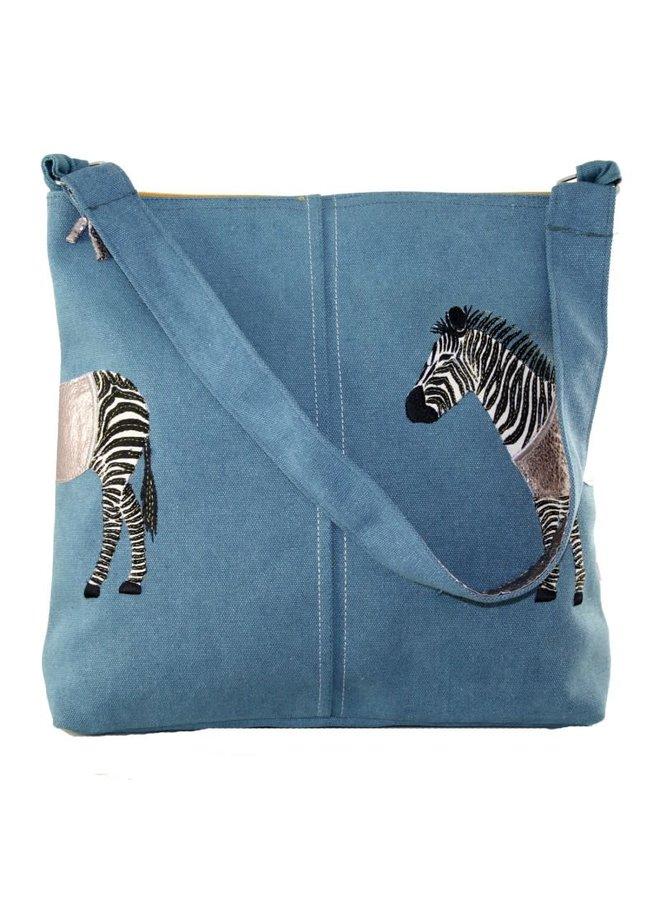 Zebra Applique Große Umhängetasche Blau 455