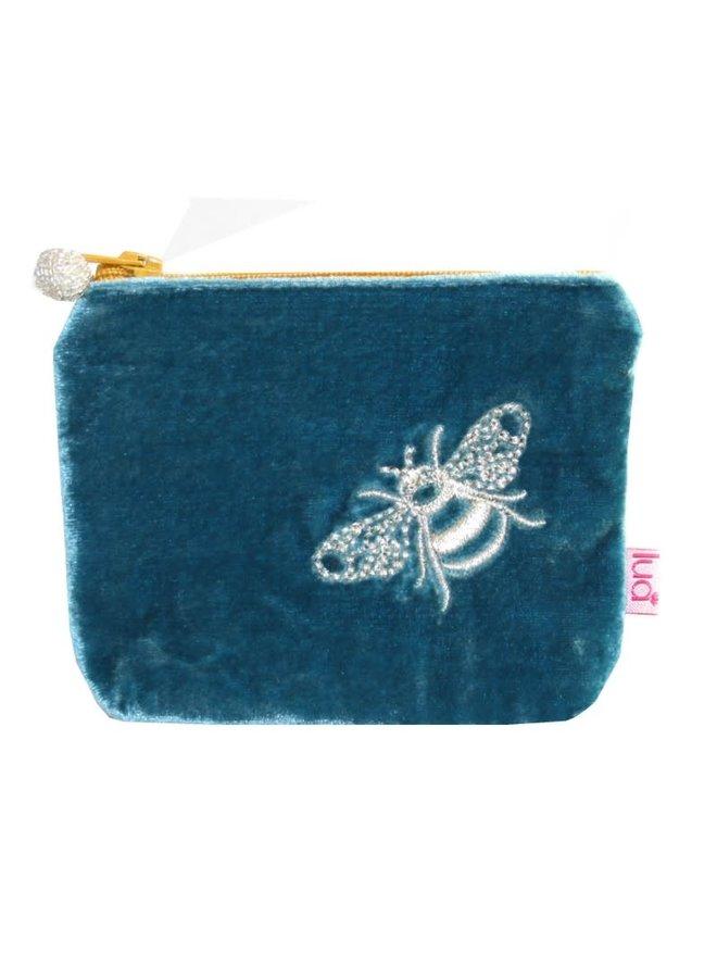 Bee Mini Velvet Embroidered Purse Turquoise 503