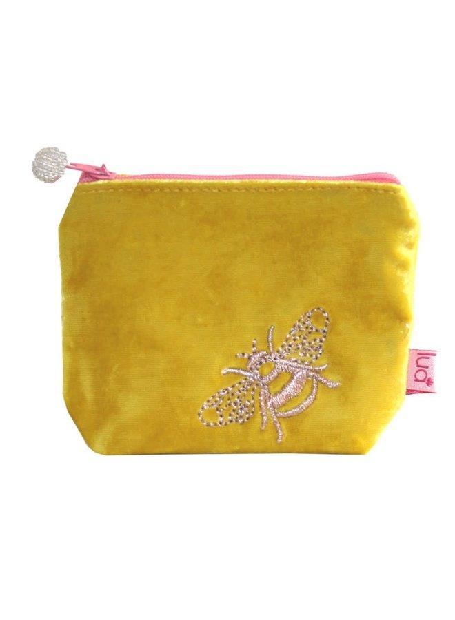 Bee Mini Velvet Bestickte Geldbörse Yellow504