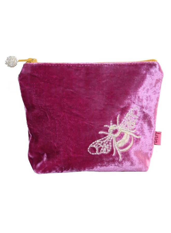 Bee Velvet Embroidered Purse Pink 507